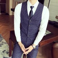 男士时尚绅士千鸟格马甲套装修身青年加大码伴郎礼服西裤两件套男