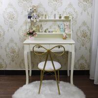 欧式梳妆台卧室小户田园写字学习书桌书架组合50 60 70cm实木 80cm象牙白送蝴蝶椅 腿加粗 是