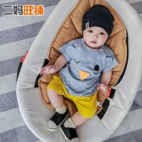 韩版儿童卡通衣服3-6-9-12个月宝宝纯棉上衣婴儿短袖竹节透气T恤