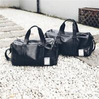 袋鼠旅行包男出差手提包女大容量旅游包简约行李包袋健身包潮 黑