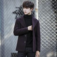 秋冬新款韩版修身短款毛呢风衣风衣男士风衣休闲时尚男士西装领外套
