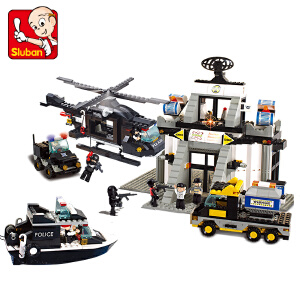 【当当自营】小鲁班防暴特警系列儿童益智拼装积木玩具 科技中心M38-B2300