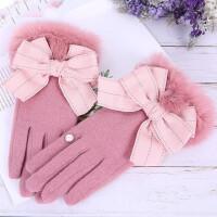 针织毛线加绒加厚保暖可触摸屏可爱兔毛蝴蝶结羊绒羊毛手套