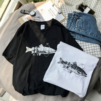 男短袖T恤 2018夏季薄款咸印花潮流韩版宽松时尚休闲半袖体恤衫