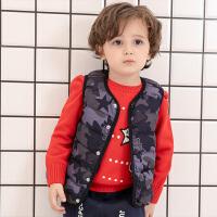 【3件6折】小猪班纳童装儿童羽绒马甲男宝宝迷彩保暖背心冬季新款轻薄外套