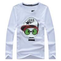 新款男装卡通小孩男式长袖T恤大码男士韩版印花t恤