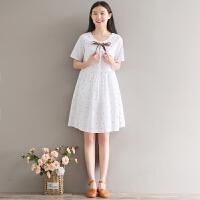 12-13-14-15-16-17-18岁大童少女孩短袖夏装初中学生棉麻连衣裙子