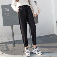 休闲裤 女士高腰棉布哈伦裤2020秋季新款韩版时尚女式洋气工装裤女装九分裤