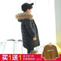 童装男童羽绒服中长款2017新款韩版四岁儿童冬装外套加厚大毛领五