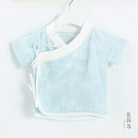 新生儿夏季衣服薄款初生和尚服纱布短袖上衣婴儿0-3个月半袖夏