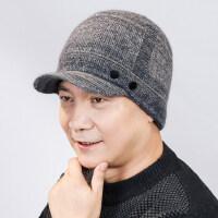 男士羊毛混纺中老年人帽子 新款保暖针织帽子 户外护耳老人帽加绒加厚毛线帽