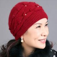 时尚铆钉珍珠女士兔毛妈妈帽子 户外护耳老人帽保暖针织帽子 加厚毛线帽