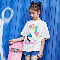 【夏2件3折:33】巴拉巴拉旗下 巴帝巴帝童装女童t恤2019春夏新款宽松纯棉个性印花中大童