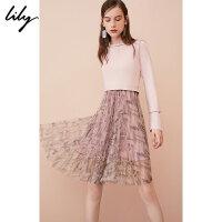 【25折到手价:274.75元】 Lily春新款女装OL假两件印花网纱长袖连衣裙118320B7302