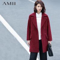 【券后秒杀100元】Amii[极简主义]冬新翻领呢大衣羊毛中长款毛呢外套女11571772
