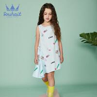 【3件3折:80元】souhait水孩儿童装夏季新款连衣裙背心裙不对称连衣裙SHNXGX08CZ507