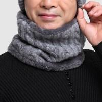 羊毛混纺中老年脖套男 加绒加厚爸爸保暖围巾 男士围脖毛线围巾