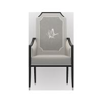 新中式禅意休闲椅实木餐椅现代简约单人太师椅子酒店会所家具定制