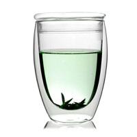 大号双层杯带盖玻璃杯子360ML果汁饮料杯开水杯家用凉水杯耐热高温玻璃杯花茶杯子水杯杯子