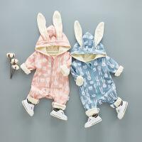 春秋冬婴儿加绒加厚连体衣男女宝宝春装新生儿衣服2外出抱衣0-1岁