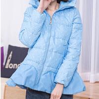 女款2018新款连帽拼接显瘦修身新潮冬季外套羽绒服