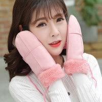 韩版学生卡通手套情侣挂脖骑行棉包指女加绒加厚保暖可爱手套