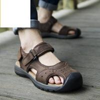 新品夏季凉鞋男沙滩鞋包头厚底防滑软底户外运动休闲凉鞋 权志龙同款