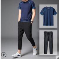 套装男户外新品网红同款运动九分裤弹力速干短袖一身两件套\薄款修身9分裤
