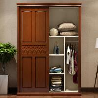 实木衣柜简约现代2两门卧室经济型1.5米木质推拉滑移门橡木小衣橱 2门 组装