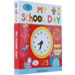 进口英文原版绘本 Schoolies: My School Day 快乐小学:上学日时钟操作书