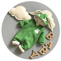 宝宝冬装0-3-6个月9新生儿连体衣加绒加厚7男女宝宝外出服潮冬季8