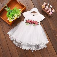 女童超洋气白连衣裙装女宝宝公主裙子小童纱裙婴儿童夏装婴幼儿潮