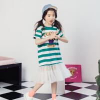 中大童裙子女童12-15岁夏连衣裙洋气儿童装条纹长款t恤拼接网纱裙