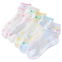 儿童袜子春夏季薄款女童水晶冰丝袜宝宝花边袜短袜2-4-6-8岁