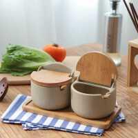 川岛屋日式翻盖陶瓷调味罐厨房装盐糖味精调料盒罐子组合套装家用