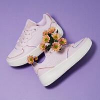 【超品预估价:57】361女鞋板鞋2020春季新款官方皮面学生厚底休闲鞋子白色运动鞋女
