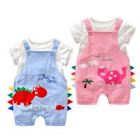 夏季婴儿洋气背带裤套装女宝宝纯棉衣服男童夏季时尚潮0-1岁3个月