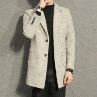 男士长款风衣羊毛外套修身呢子大衣