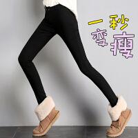 加绒黑色牛仔裤女高腰2018秋季新款小脚长裤韩版修身显瘦铅笔裤子
