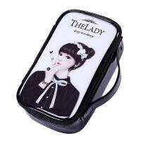 化妆包韩版卡通女孩黑色防水化妆笔收纳袋化妆品收纳包小号化妆包 黑+白