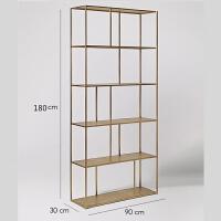置物架落地多层北欧客厅简约收纳架子隔断装饰架卧室金色铁艺书架