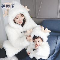 亲子装婴儿秋冬装加厚加绒外出服全家装母子一家三口母女装外套冬