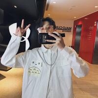 新款韩版卡通大口袋长袖衬衣男士小清新白色衬衫学生潮流