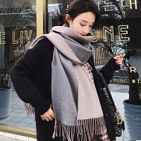 围巾女冬季时尚韩版百搭两用双面纯色披肩学生男长款加厚保暖围脖秋冬