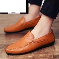 新款春季男士豆豆鞋一脚蹬懒人鞋韩版潮流休闲皮鞋英伦潮鞋套脚男鞋子