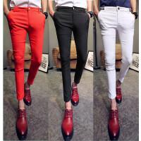 英伦夏季型男纯色弹力休闲裤男士显瘦修身九分裤百搭紧身小脚西裤