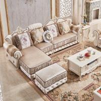 欧式布艺沙发组合雕花大小户型可拆洗客厅转角实木简欧布沙发