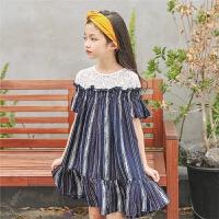 儿童沙滩裙海边度假女童夏季裙子2018新款韩版洋气拼接条纹连衣裙