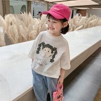 女童短袖T恤夏装女宝宝洋气时尚儿童夏季白色上衣潮
