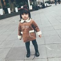 女童外套秋冬2017新款加厚�W美百搭中�L款鹿皮�q一�w皮草�和�棉�\